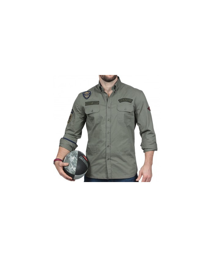 Chemise homme manche longue Rugby Army Ruckfield kaki