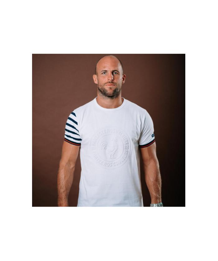 T-shirt Coq en Marinière -...